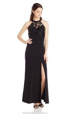 High-neck Long Chiffon Dress With Side Slit