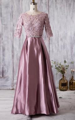 Illusion Appliqued Bodice Satin Gown