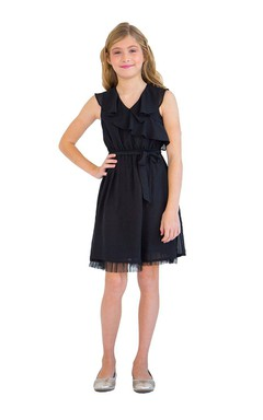 Cap-sleeved V-neck Knee-length Dress With Pleats