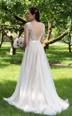 Illusion V-Neck A-Line Tulle Wedding Dress With Tulle Skirt.