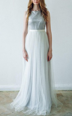 A-line Maxi Tulle&Lace Dress With Sash Ribbon