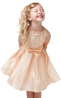 Sleeveless A-line Pleated Dress With Beadings and Bow