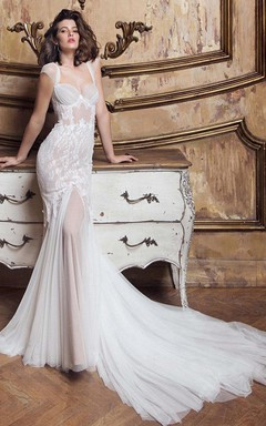 Gossamery Cap-Sleeve Illusion Tulle Wedding Dress With Lace And Court Train