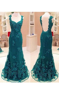 Mermaid Sweep Train Long Lace Appliques Dress