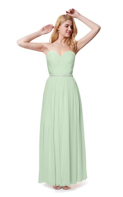 Beaded Sweetheart Chiffon Dress With Detachable Straps