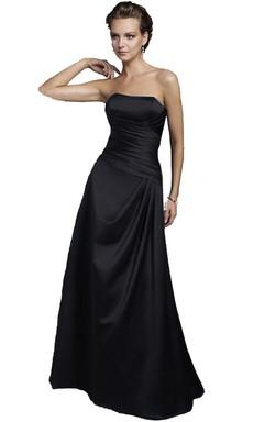 Strapless Ruched Taffeta Black Long Dress