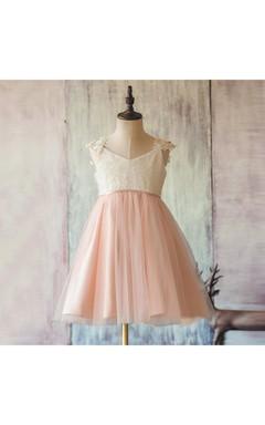Applique Cap Sleeve V Neck a Line Baby Knee Length Lace Girl Dress