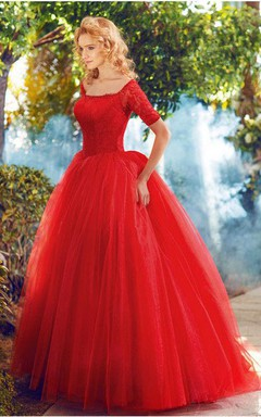 Ball Gown Short Sleeve A-line Lace Tulle Dress