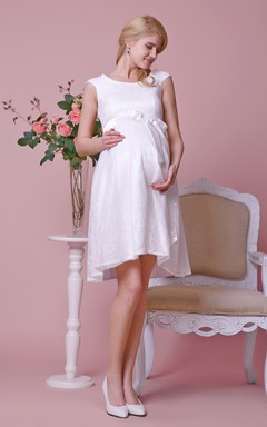 Scoop Neckline Allover Lace Knee Length A-line Dress With Cap Sleeves