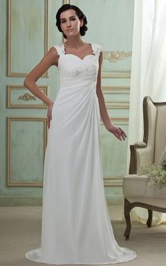 Caped-Sleeve Side-Ruching Chiffon Maxi Dress With Brush Train
