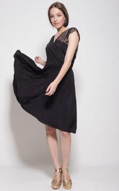 Knee-length Bell Sleeve Chiffon&Lace Dress
