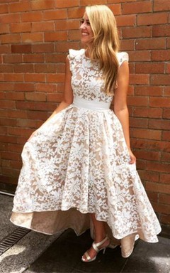 Cap Sleeve High Low Lace Dress With Bandage Waist