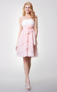 Strapless Empire Short Bridesmaid Dress with Layered Skirt