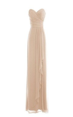 Sweetheart Long Layered Chiffon Gown With Ruching