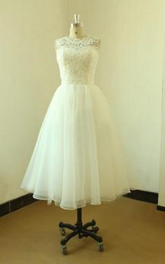 Mini Tea-Length Lace Organza Weddig Dress