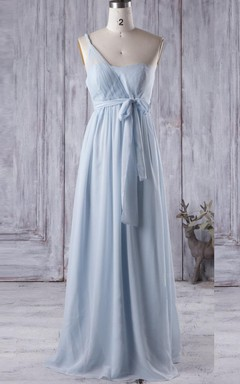 Long One-shoulder Sweetheart Chiffon&Tulle Dress With Illusion