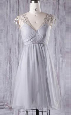 A-line Mini Tea-length V-neck Chiffon&Tulle&Lace Dress With Flower