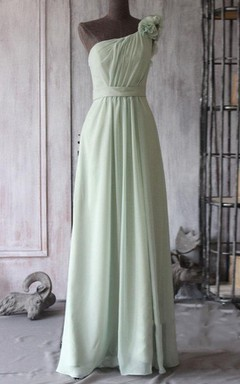 Floor-length One-shoulder Chiffon Dress With Flower
