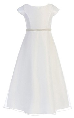 Cap-sleeved Bateau-neck A-line Dress With Beadings