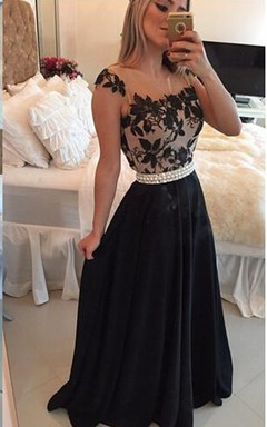 Elegant Square Chiffon Black Prom Dress 2016 Appliques Pearls