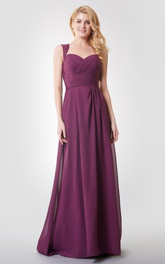 Queen Anne Neck Empire Long Bridesmaid Dress