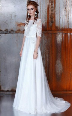 Bateau Half Sleeve Floor-Length A-Line Dress With Lace