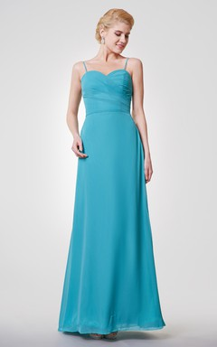 Sexy Spaghetti Straps Sheath Chiffon Gown With V-back