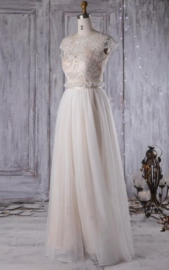 A-Line Long Sweetheart Cap Sleeve Tulle Lace Dress With Beading Illusion