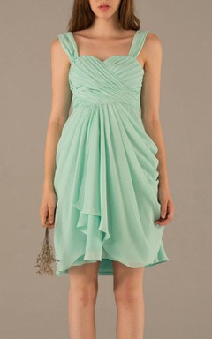 Short Strapped Sweetheart Chiffon Dress With Draping&Pleats