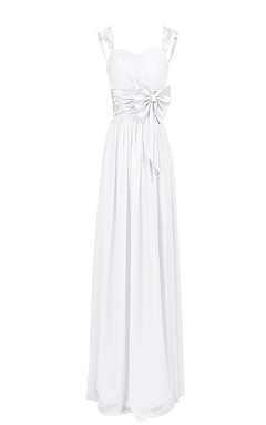 Sleeveless Bodice Long Pleated Chiffon Dress With Bowknot