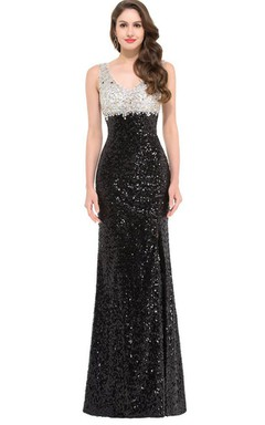 Sleeveless Scoop Neck Long Sequins Dress