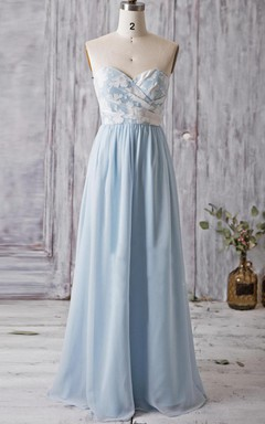 Strapped Sweetheart Backless Chiffon&Lace Dress With Flower