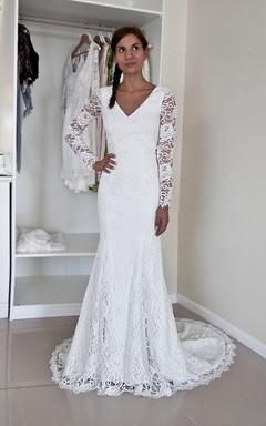 French Lace Bateau Neck Long Sleeve Mermaid Wedding Dress With Buttoned Back