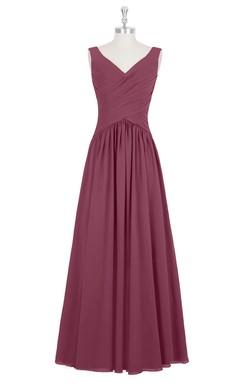 Chiffon Sleeveless V-Neck Dress With Ruched Crisscross Bodice and Pleats