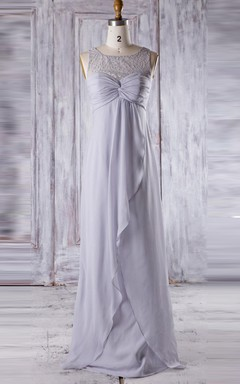 A-line Empire Floor-length Sweetheart Empire Chiffon&Lace Dress With Draping&Ruffles&Illusion