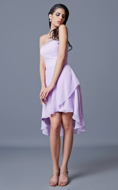 Strapless Backless Draped A-line Short Chiffon Dress