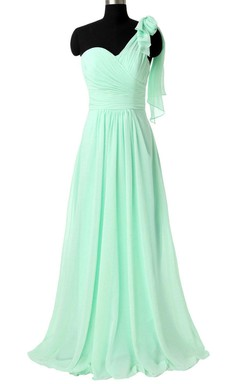 Unique Mint Bridesmaid Long One Shoulder Chiffon Convertible Prom Dress