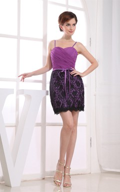 Sweetheart Spaghetti-Strap Mini Dress with Ruching and Appliques