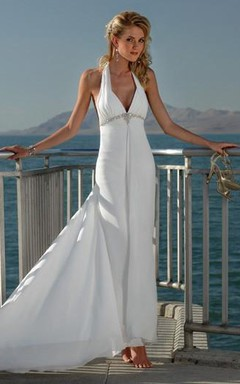 Sheath Column V-neck Halter Beading Chiffon Wedding Dress