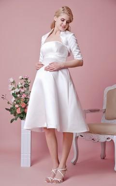 Elegant Strapless Tea Length Satin Dress With Removable Jacket