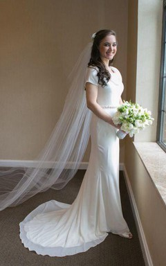Cowl Short Sleeve Sheath Jersey Wedding Dress With Sash And Button Back