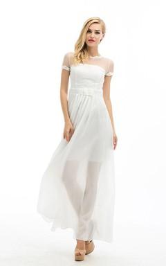 A-Line/Princess Scoop Short Sleeves Chiffon Floor-Length Bowknot Dresses