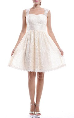 Mini Strapped Lace White Dress