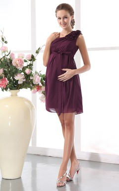 Asymmetrical Short Dress With Flower And Empire Waistline