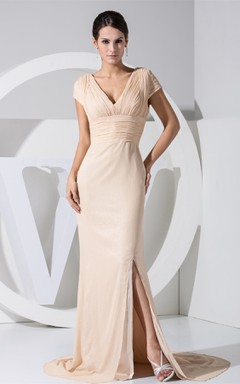Plunged Caped-Sleeve Mermaid Dress with Front Slit and Ruched Waist