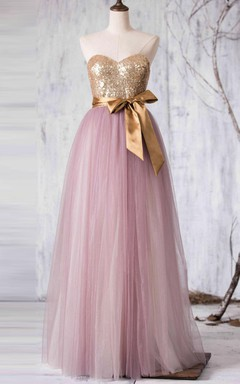 Maxi Strapped Sweetheart Tulle Dress With Sequins