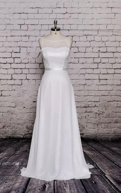 Bateau Neck Long A-Line Chiffon Dress With Lace Bodice
