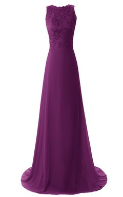 High-neck Long Chiffon Dress With Lace Bodice