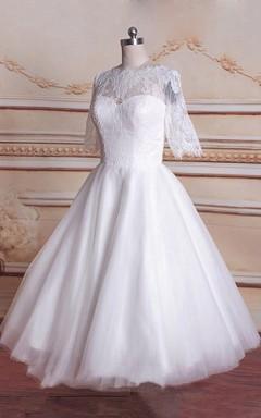 Tea-Length 3-4 Sleeve Tulle Lace Satin Weddig Dress