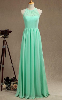 Mint Long Bridismaid Halter Chiffon Dress